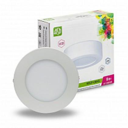 Панель светодиодная круглая NRLP-eco 0845 8Вт 160-260В 4000К 640Лм 120мм белая накладная IP40 ASD