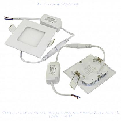 Светильник 3W встраиваемый квадратный белый, 85 (70) мм (ультратонкий) DEKO